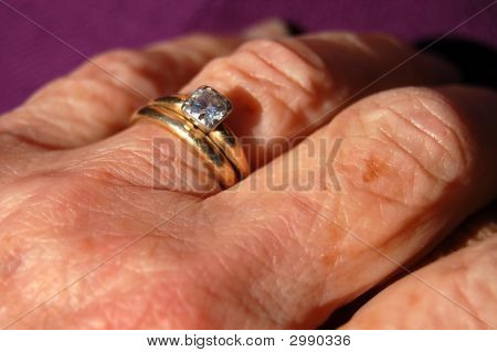 Senior Married Woman'S Hand With Rings