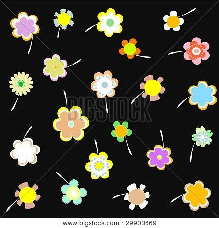 Vector Decorative Wallpaper With Flowers On Black