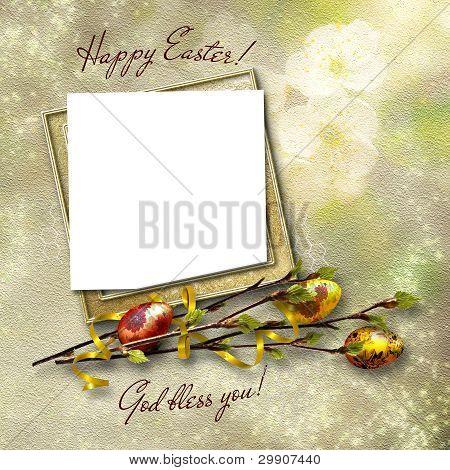Framework For Greeting Or Invitation. The Easter Background.