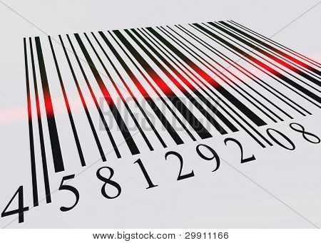 barcode scanned by barcode reader, an illustration of buying & selling (b)