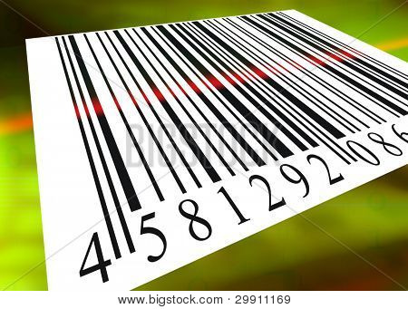 barcode scanned by barcode reader, an illustration of buying & selling (d)
