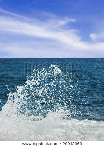 sea waves splashing on the shore on a bright day
