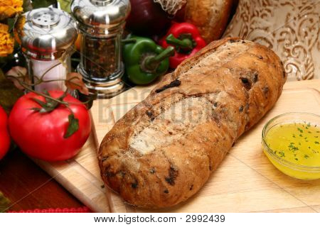 Olive Bread Loaf In Kitchen
