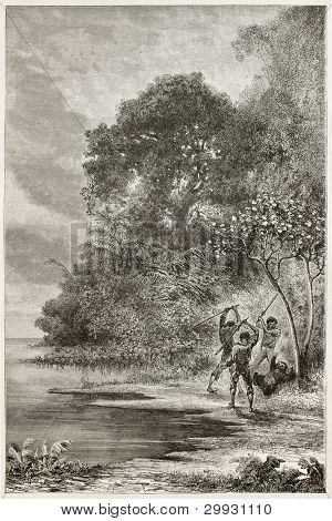 Men killing Three-toed sloth along Amazon river bank. Created by Riou and Sargent, published on Le Tour du Monde, Paris, 1867