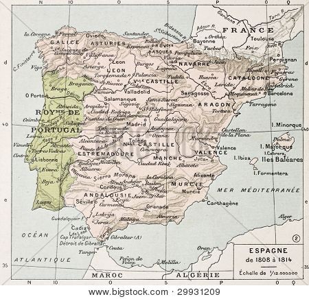 Spain between 1808 and 1814 old map. By Paul Vidal de Lablache, Atlas Classique, Librerie Colin, Paris, 1894