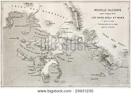 Noumea region old map, New Caledonia. After Bouquet de La Grye, published on Le Tour du Monde, Paris, 1867