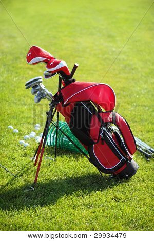 Golf Clubs In Golfbag, Green Grass Background