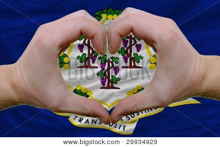 Over American State Flag Of Connecticut Showed Heart And Love Gesture Made By Hands