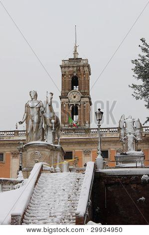 Pollux Statue Under Snow