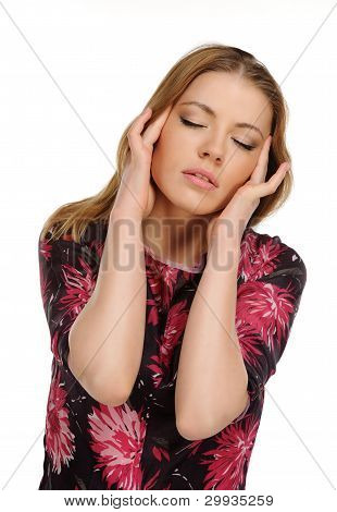 Headache - Young Woman Holding Head In Pain