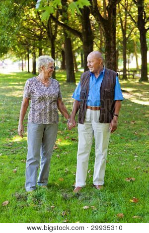mature senior couple in love. walking in a meadow