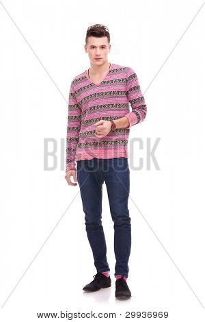 ful body picture of a casual handsome man on white background