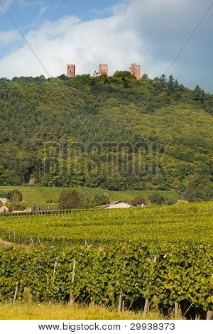 Fortified castles of Husseren-les-chateaux in Alsace, France