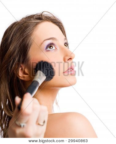 Applying Makeup.