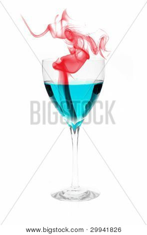 Blue Alcohol With Red Smoke