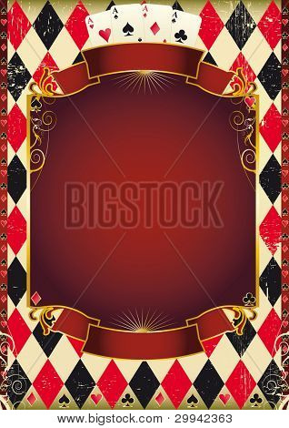 Cards background. Are you ready for the world poker tour ? A poster for a casino.