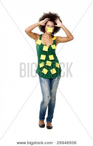 Beautiful young woman covered with post it notes all over the body, isolated on white background