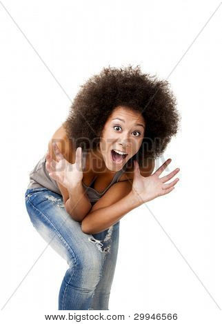 Afro-American young woman yelling with afraid of something, isolated on white