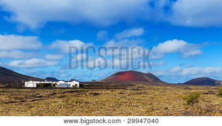 Typical houses on the island of Lanzarote