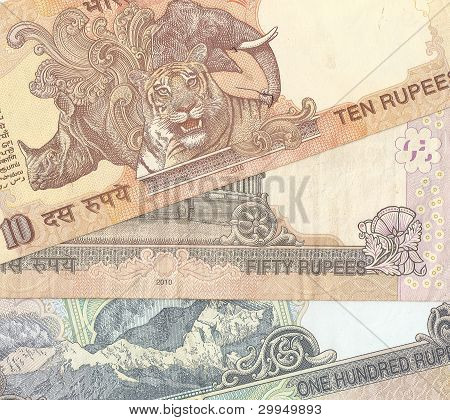 Fragment of Indian banknotes - 10, 50 and 100 Indian rupees, the sample in 2010, the flip side.
