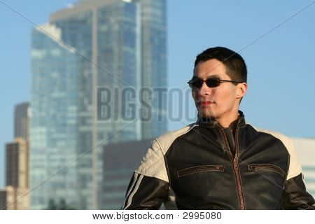 Man In Motorcycle Jacket