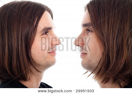 Profile Of Neutral Smile Relaxed Man Face