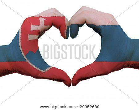 Heart And Love Gesture In Slovakia Flag Colors By Hands Isolated On White