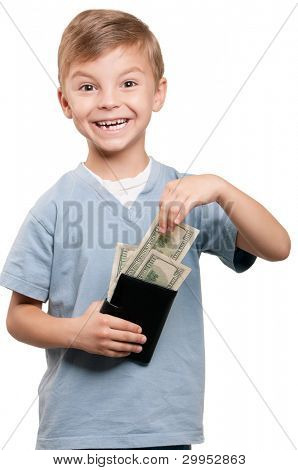 Portrait of a happy little boy with a dollars over white background