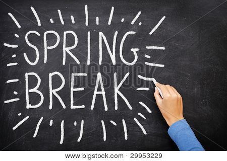 Spring break blackboard. Spring break written on chalkboard.