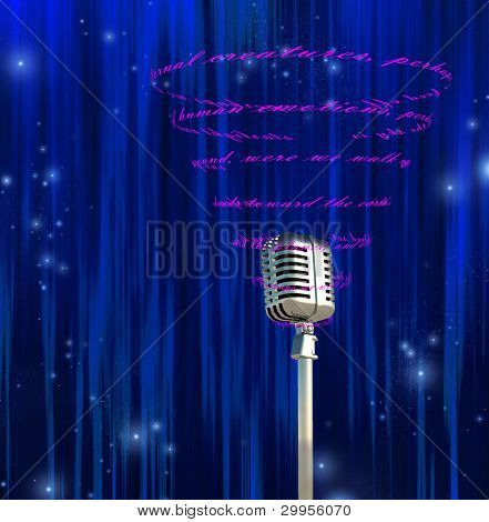 Microphone and swirling text