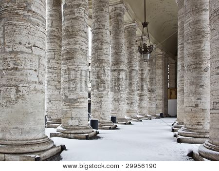 Colonnade With Snow In St. Peter's Basilica (basilica Di San Pietro).