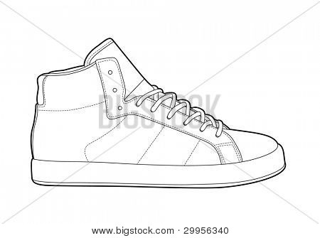 Black outline vector shoes on white background