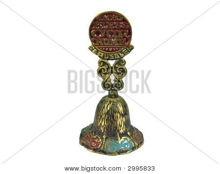 God Bless Our Home Jerusalem Holyland Bell Isolated