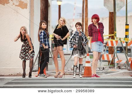 Attractive Young Punk Teen Girls Pose For The Camera.