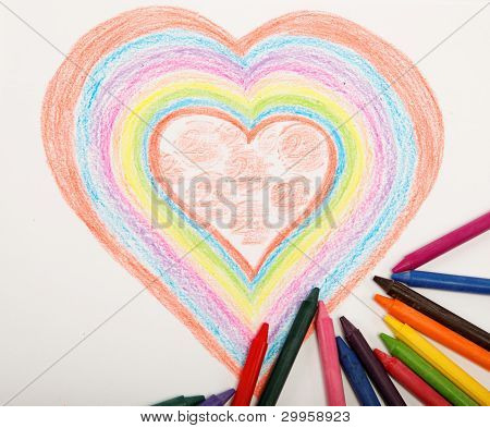 Heart Drawn With Crayons.