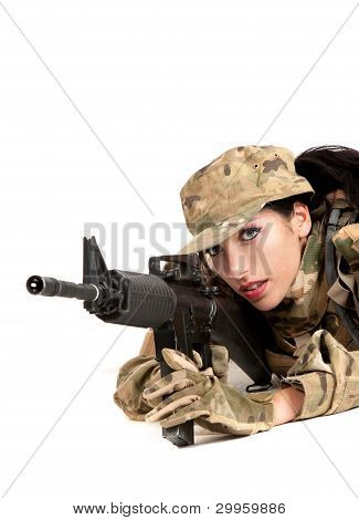Beautiful Army Girl With Rifle Is Aiming