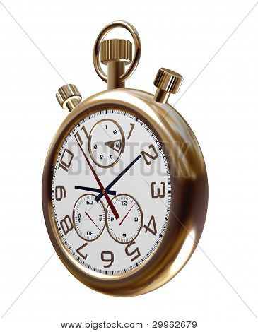 Gold Old Clock On White