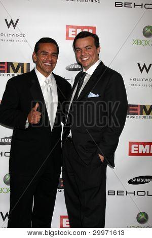 LOS ANGELES, CA - FEB 13: Antonio R. Villaraigosa  & Elio Leoni-Sceti at the EMI GRAMMY After-Party at Milk Studios on February 13, 2011 in Los Angeles, California
