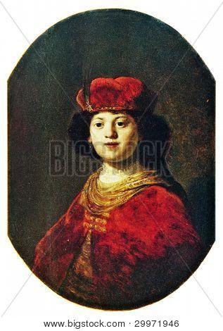 USSR - CIRCA 1981: Postcard shows draw by Rembrandt van Rijn Portrait of Boy, Hermitage, St. Petersburg circa 1981