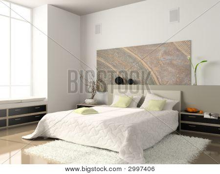 Interior Of The Comfortable Bedroom 3D Rendering