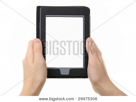 hands holding  empty electronic e-reader for book