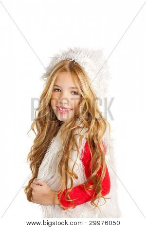 Kid little girl with christmas winter white fur and red shirt