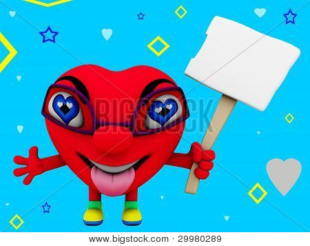 Red Heart Character with a message