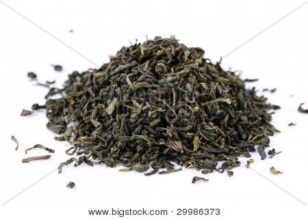 Green tea isolated on the white
