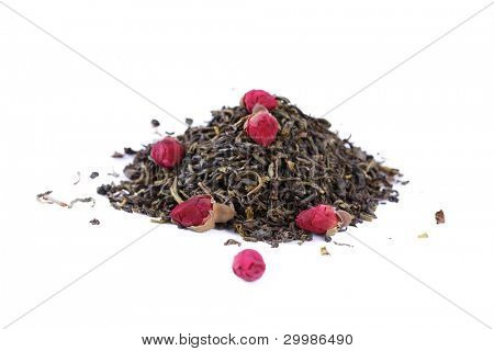 Green tea with a rose is isolated on the white