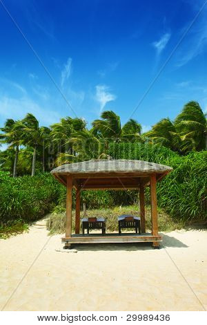 Massage tables in tropical beach