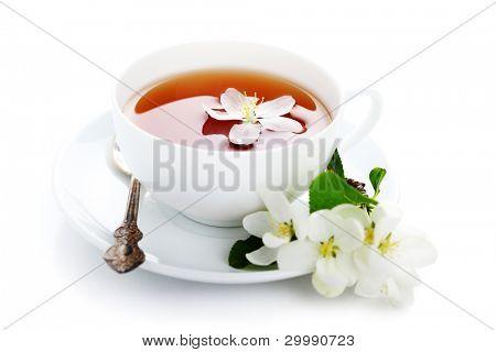 eine Tasse Tee mit Apfel-Blüten auf einem weißen Hintergrund isoliert