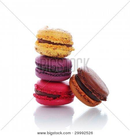 traditional french macaroons in  isolation of a white background