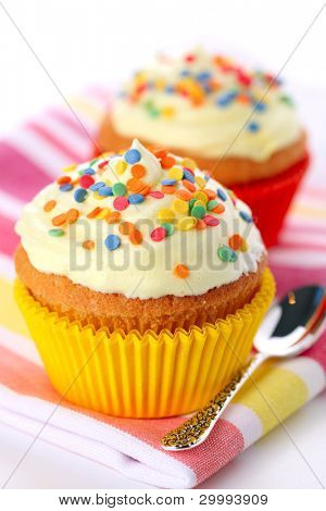 Cupcake decorated with sugar sprinkles