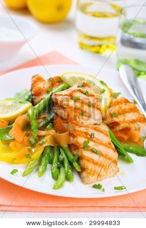 grilled salmon with spring asparagus on white plate, soft focus